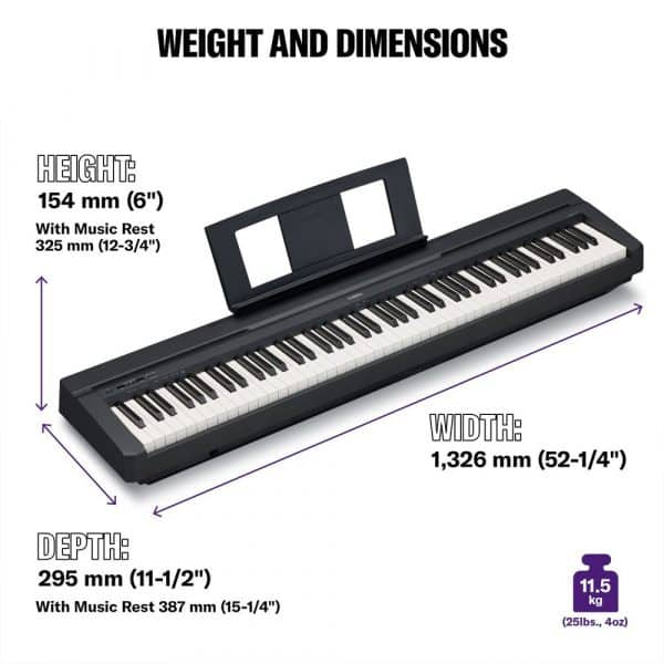 Yamaha P45 (P-45B) Dimensions