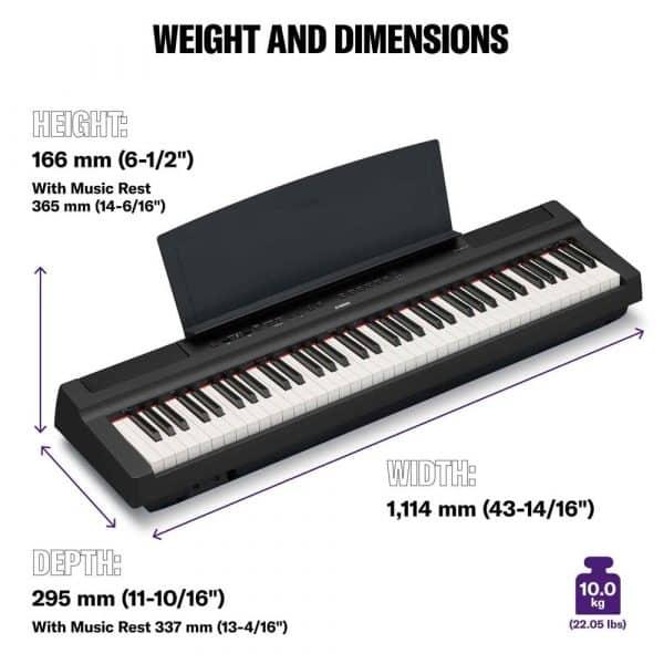 Yamaha P121 (P-121) Dimensions
