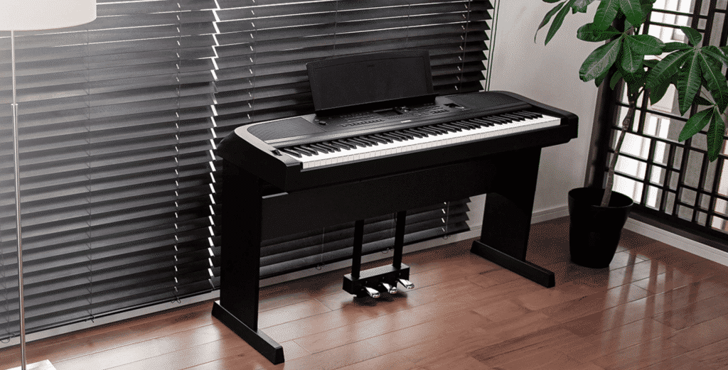 A Yamaha DGX670 piano looking stylish in a modern home setting