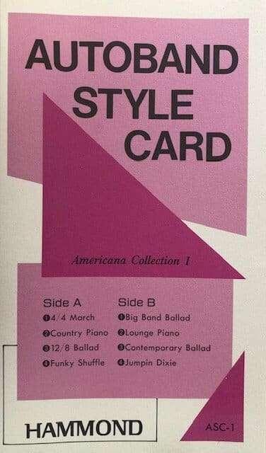 Hammond Americana 1 Autoband Style Rom Card for EX1000E, EX/US2000E & EX2000B