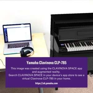 Clavinova Space app image of a piano against a wall